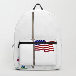 Pole America American US USA Flag Funny Pictures Humor Funny Gift Ideas Backpack