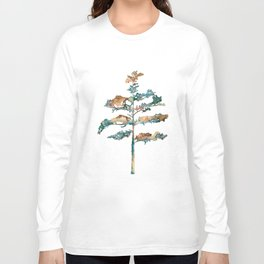 Pine Tree #2 in pink and blue - Ink painting Long Sleeve T-shirt