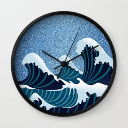 Abstract white navy blue glitter japanese waves Wall Clock