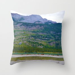 Bull Elk with his Lady Friends on the Athabasca River in Jasper National Park, Canada Throw Pillow