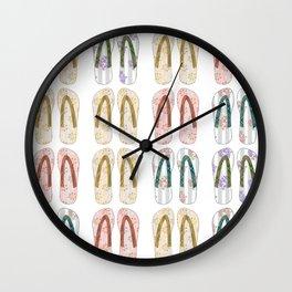 Multi-colored slates, flip-flops Wall Clock
