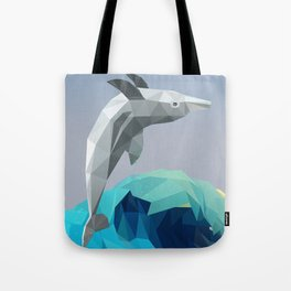 Low Poly Dolphin Wave Tote Bag