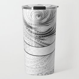 White on Black Circular Fractal of a Jinbaori Samurai Symbol Travel Mug