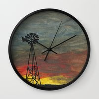 kansas Wall Clocks featuring windmill kansas by BryanCorbinArt