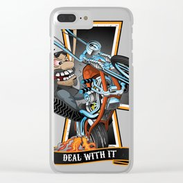 Deal with it -  funny biker riding a chopper, popping a wheelie motorcycle cartoon Clear iPhone Case
