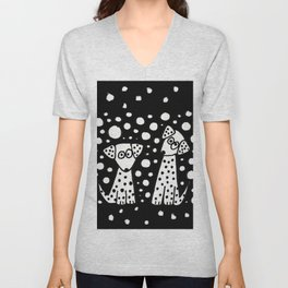 Funny Dalmatian Spotted Dogs Abstract Artwork Unisex V-Neck