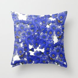 Little Blue Flowers on White Throw Pillow