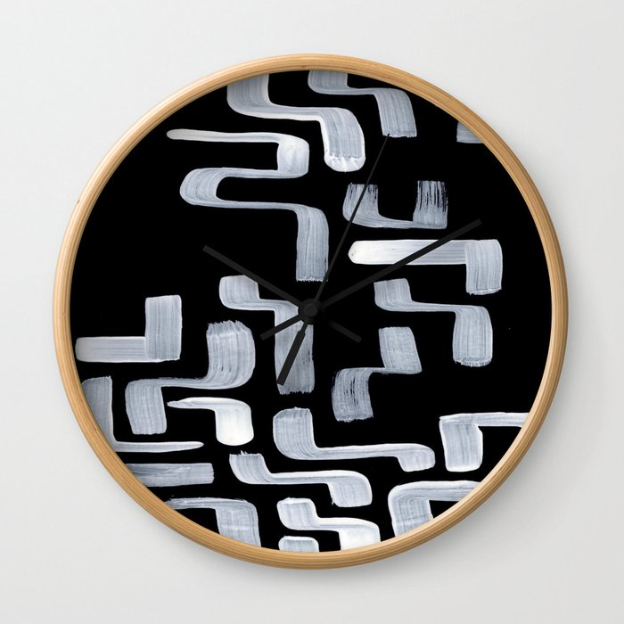 Strange Minimalist Abstract Ghostly Tribal Primitive Art Mid Century Modern Pattern Wall Clock