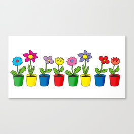 Flowers in pots Canvas Print