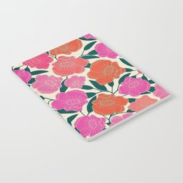 Bold Poppies in hot pink, corals and burnt orange Notebook