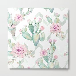 Cactus Chevron Southwestern Watercolor Metal Print