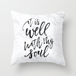 Well With My Soul - Marble Throw Pillow
