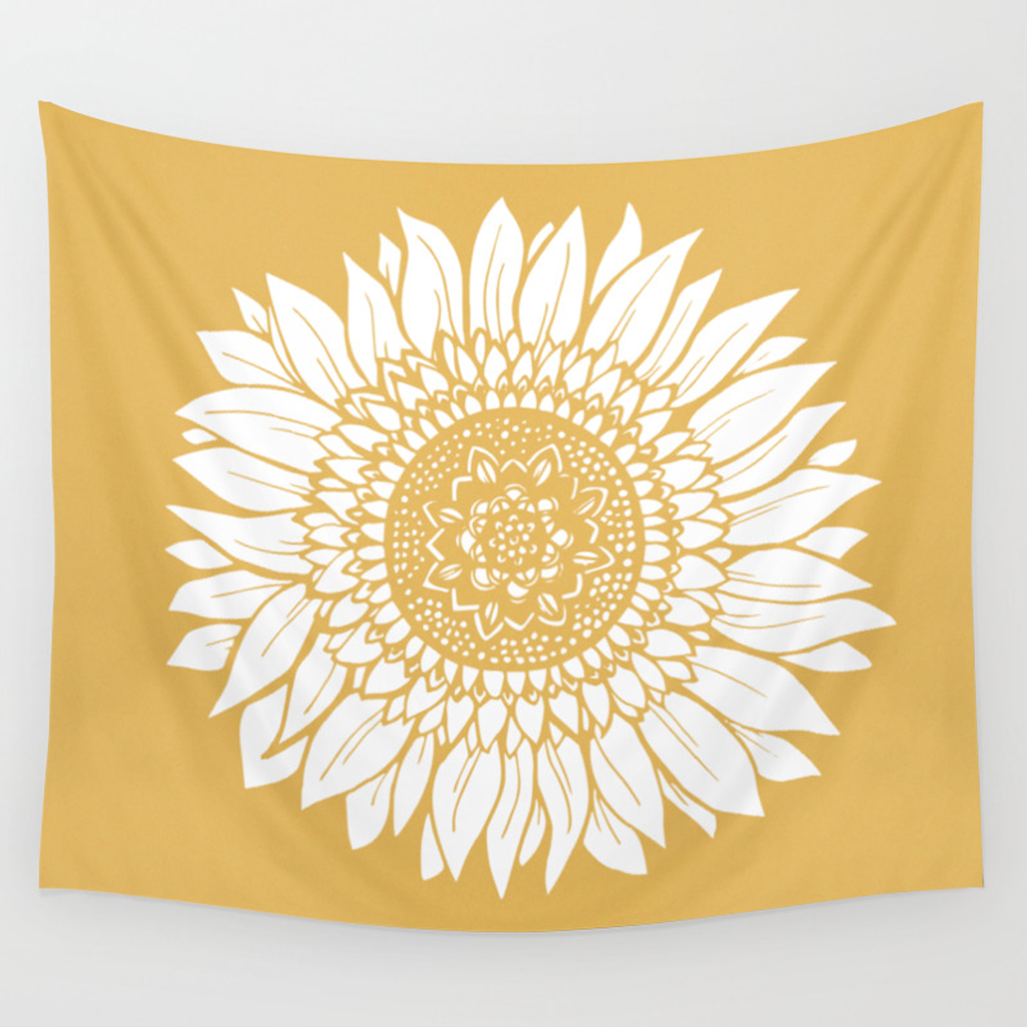 Yellow Sunflower Drawing Wall Tapestry By Aterkaderk Society6