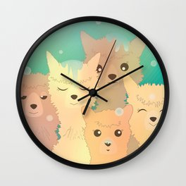 Alpaca Family I - Mint Green Snow Background Wall Clock