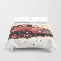 ford Duvet Covers featuring 1950 ford truck by Beth Jorgensen