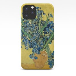 Still Life: Vase with Irises Against a Yellow Background iPhone Case