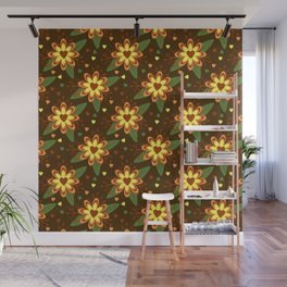 Beautiful Flowers with Heart Pistil Pattern Wall Mural