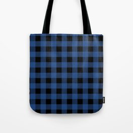 Buffalo Plaid Blue Black Lumberjack Pattern Tote Bag