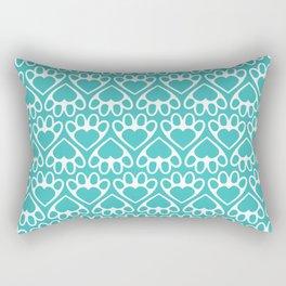 Paw Prints on my Heart - in Cyan Rectangular Pillow
