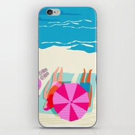 Toasty - memphis throwback minimal retro neon beach surfing suntan waves ocean socal pop art iPhone Skin