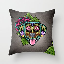 Doberman with Floppy Ears - Day of the Dead Sugar Skull Dog Throw Pillow