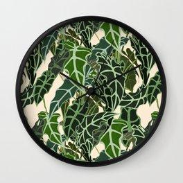 Caladium Alocasia Pattern Wall Clock