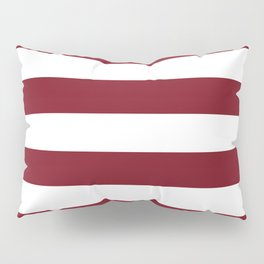 Deep Red Pear and White Wide Horizontal Cabana Tent Stripe Pillow Sham
