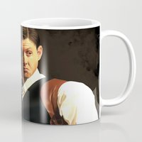 dean winchester Mugs featuring Fancy Dean Winchester by thefluidlines