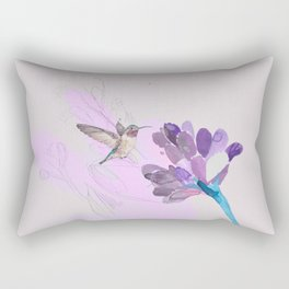 Hummingbird with purple flower watercolor Rectangular Pillow