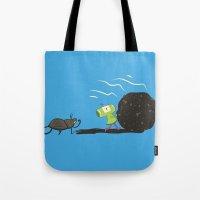 katamari Tote Bags featuring Dung Roller Katamari by Hoborobo