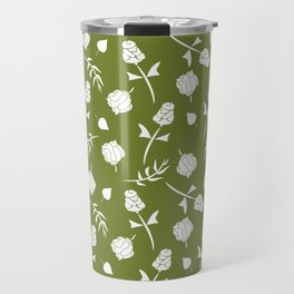 Bright Olive Green and White Floral Pattern Travel Mug