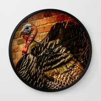 turkey Wall Clocks featuring Wild Turkey by LudaNayvelt