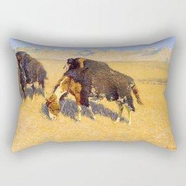 Frederic Remington - Indians Simulating Buffalo, 1908 Rectangular Pillow