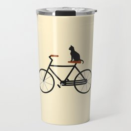 Cat Riding Bike Travel Mug