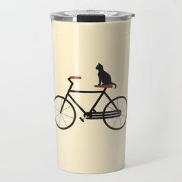 Cat Riding Bike Travel Mug