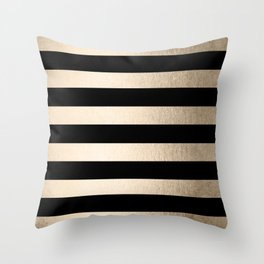 Simply Striped White Gold Sands on Midnight Black Throw Pillow