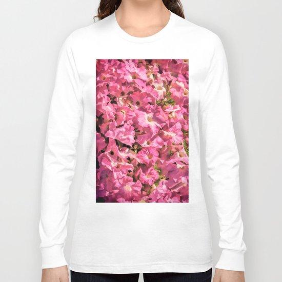 Vintage Pretty Pink Petunias Long Sleeve T-shirt