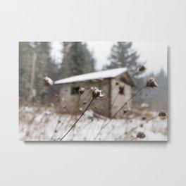 Snowy Barn Metal Print