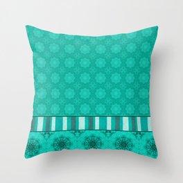 Peacock Green and White Abstract Mandala Tile Throw Pillow