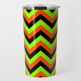 Green Orange and Black Chevrons Travel Mug