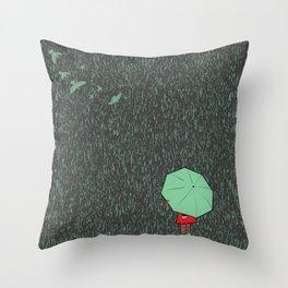 rain falls Throw Pillow
