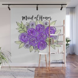 Maid Of Honor Wedding Bridal Purple Violet Lavender Roses Watercolor Wall Mural