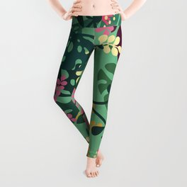 Purple Jungle Pattern - Kitschy Colorful Monstera and Palm Leaves Leggings