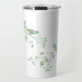 Birds on Branches Love Bird Couple Vintage Floral Pattern Green Yellow Blue Travel Mug