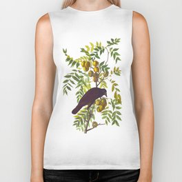American Crow Hand Drawn Illustrations Vintage Scientific Art John James Audubon Birds Biker Tank