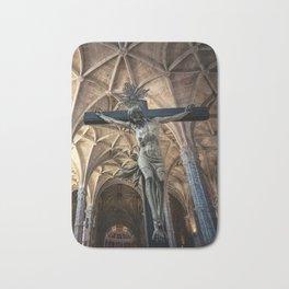Crucified Christ inside Santa Maria de Belem church in Lisbon, Portugal Bath Mat