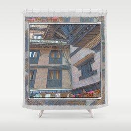 BHAKTAPUR NEPAL BRICKS WINDOWS WIRES Shower Curtain
