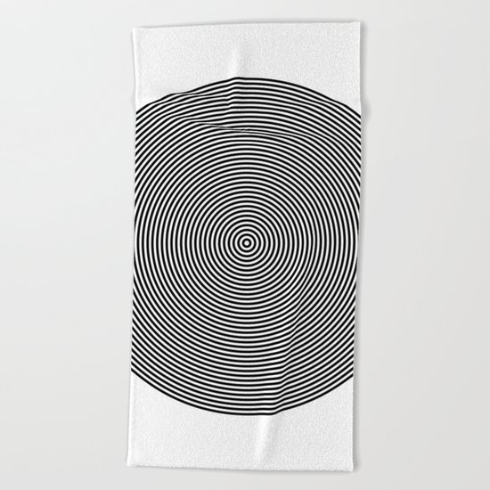 Hypnotic Circles optical illusion Beach Towel