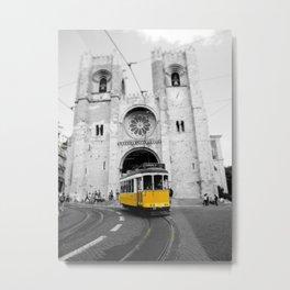 Lisbon Yellow Tram Photograph Metal Print