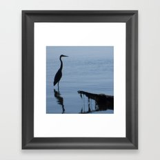 Pretty Blue Lake With A Heron  Framed Art Print